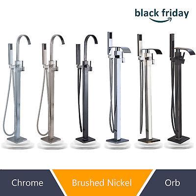 Free Standing Bathtub Faucet Floor Mounted Tub Filler W/Handheld Sprayer Mixer