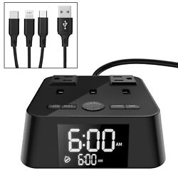 Digital Alarm Clock Charging Station with USB charger AC Adapters for Bedrooms