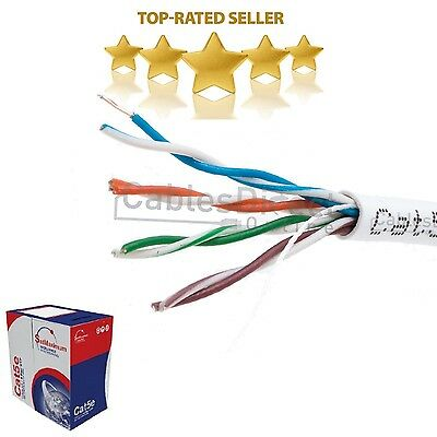 White CAT5e Bulk 1000ft Cable UTP Wire Ethernet Solid Network Modem Internet