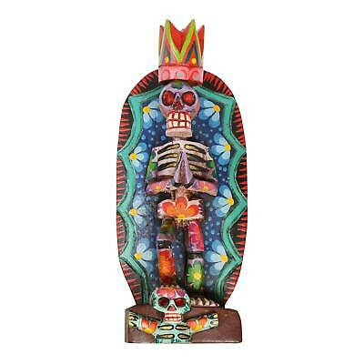 Day Of The Dead Statue -hand Carved Wooded Dia De Los Muertos Skeleton Sculpture