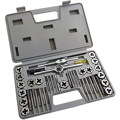 40 PCS METRIC TAP WRENCH AND DIE SET CUTS M3-M12 BOLTS & HARD CASE