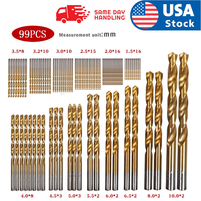 US 99PCS Drill Bit Set 1/16″-3/8″ HSS Titanium Multi Bits Metal Tools Twist Wood Drill Bits