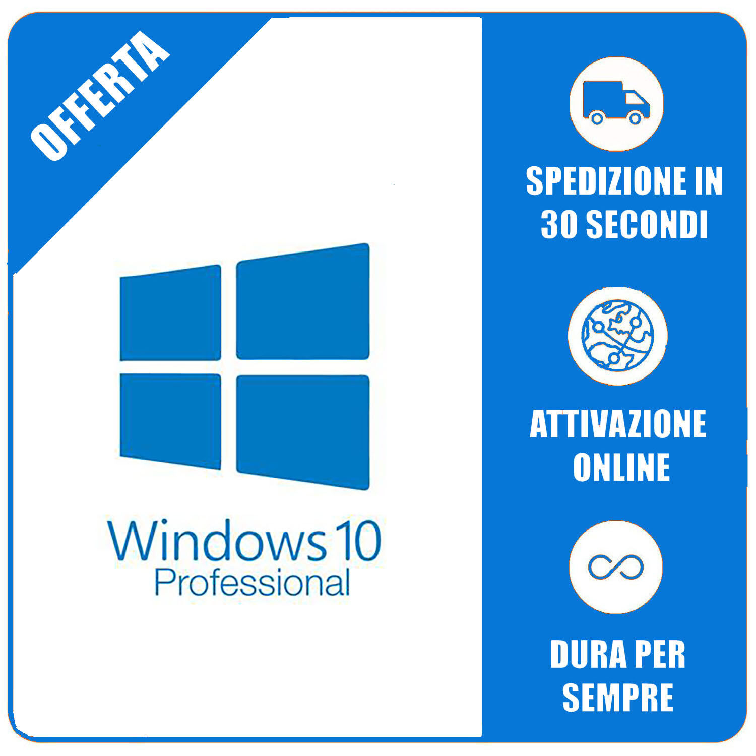 Licenza Windows 10 Pro Professional 32/64 Bit Product Key Full ESD