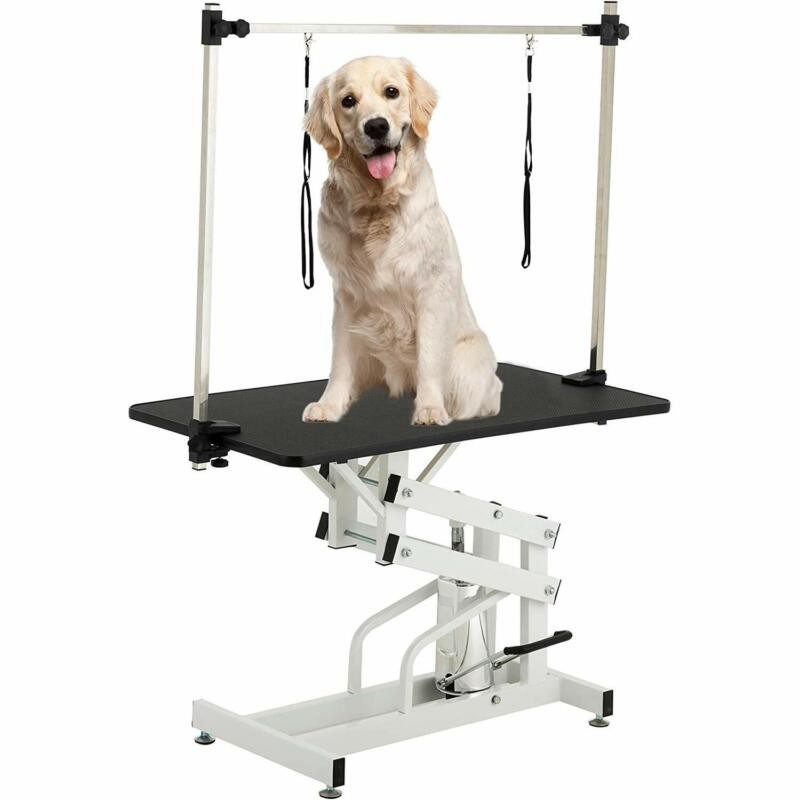 """43"""" Hydraulic Dog Cat Pet Grooming Table Tray Folding Adjustable Arm Noose Mesh"""
