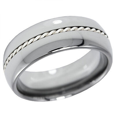 Tungsten Twist Ring 8MM Dome Band with Silver Braid Twist Inlay and Comfort Fit