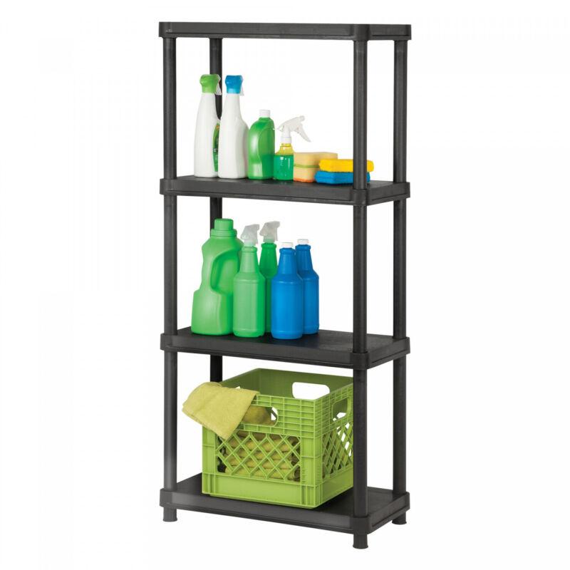 4 Tier Plastic Free Standing Shelving Unit Garage Storage Space Saver No Ship CA