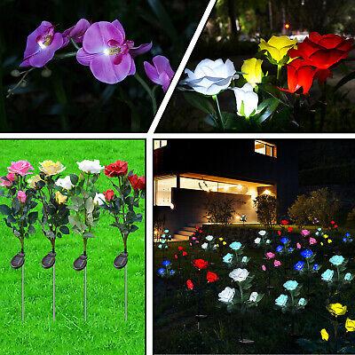 Solar Garden Rose Flower Butterfly Orchid Lights Waterproof LED Light Decorative