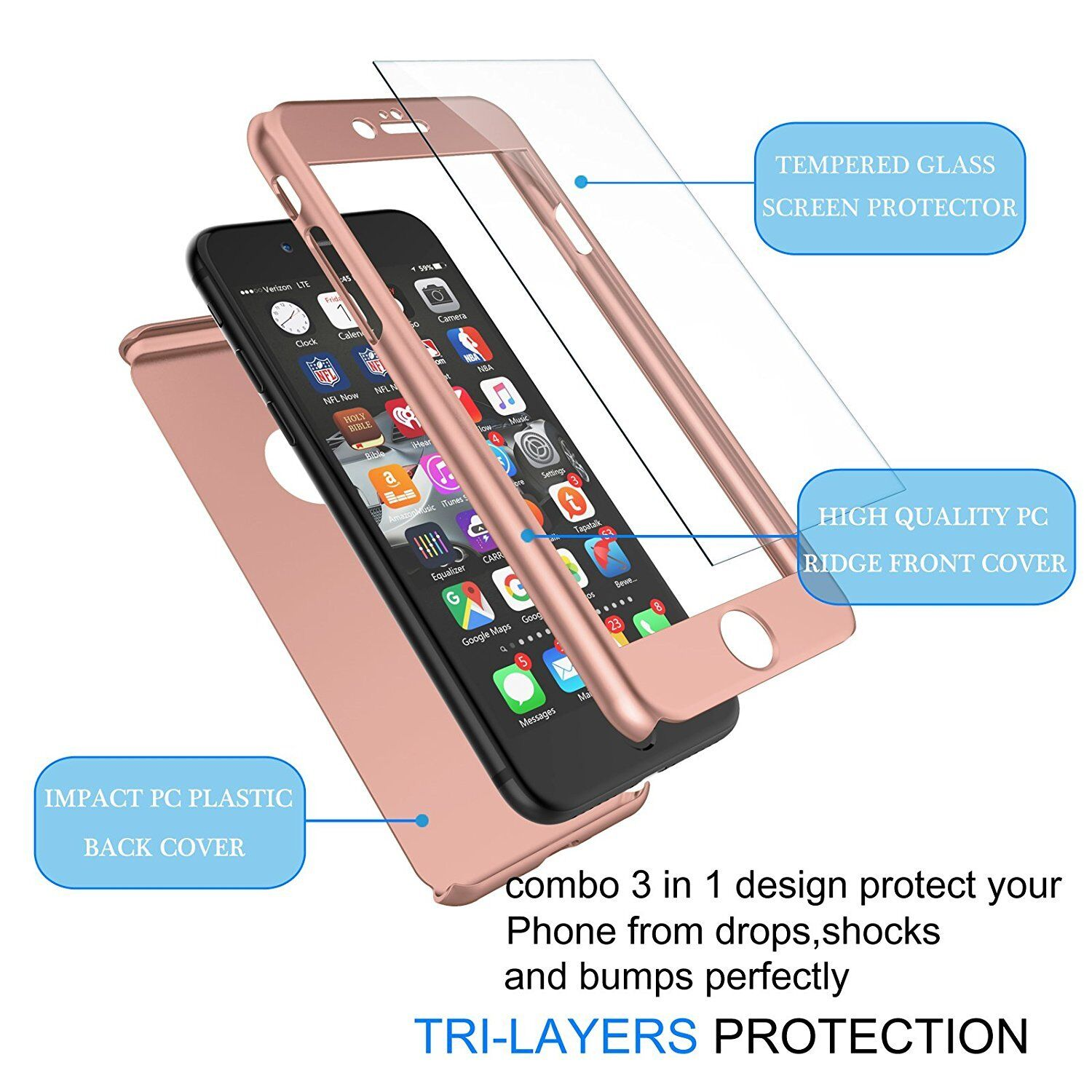For iPhone 8 6S 7 / 7 Plus Case Ultra Thin Slim Hard Cover+ Tempered Glass