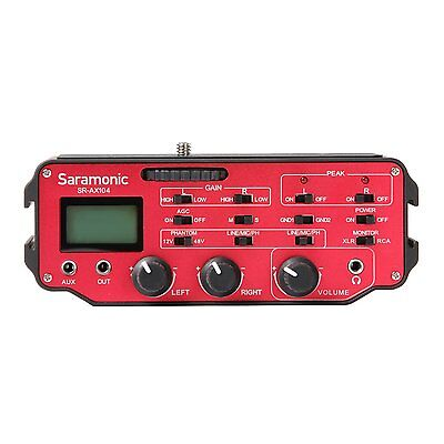 Saramonic SR-AX104 2 Channel XLR Audio Adapter with Phantom Power & Monitor (Red