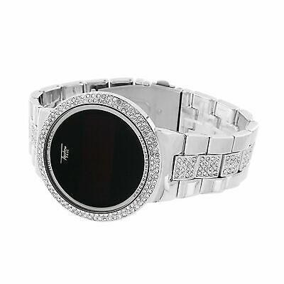 Iced Hip Hop Digital Touch Screen Silver Plated Lab Diamond Smart Metal Watch