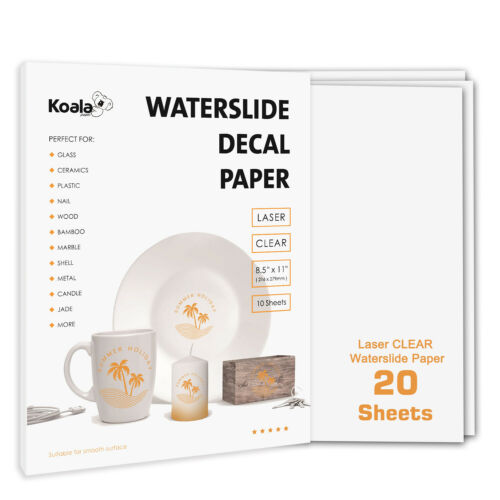 Koala 20 Sheets Premium LASER CLEAR Waterslide Decal Transfer Paper Water Slide