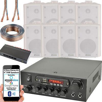 4 Zona Altavoz Bluetooth Kit – 8x 70W Blanco Montaje Pared –...