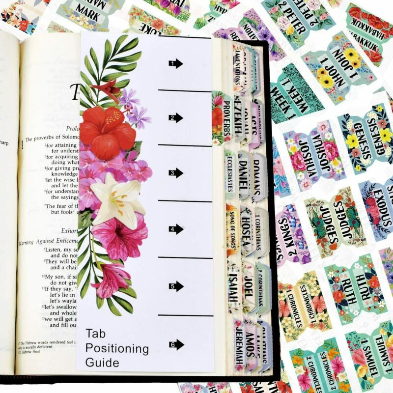 121 Pcs Bible Index Tabs New & Old Testament Tabs Matte Laminated Floral Design
