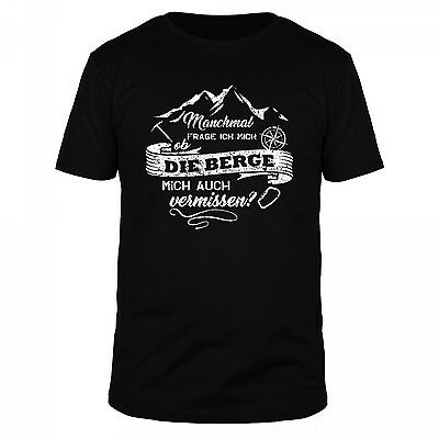 Berge Wandern Klettern Ski Kompass Outdoor Survival Mountain T-Shirt Herren ()