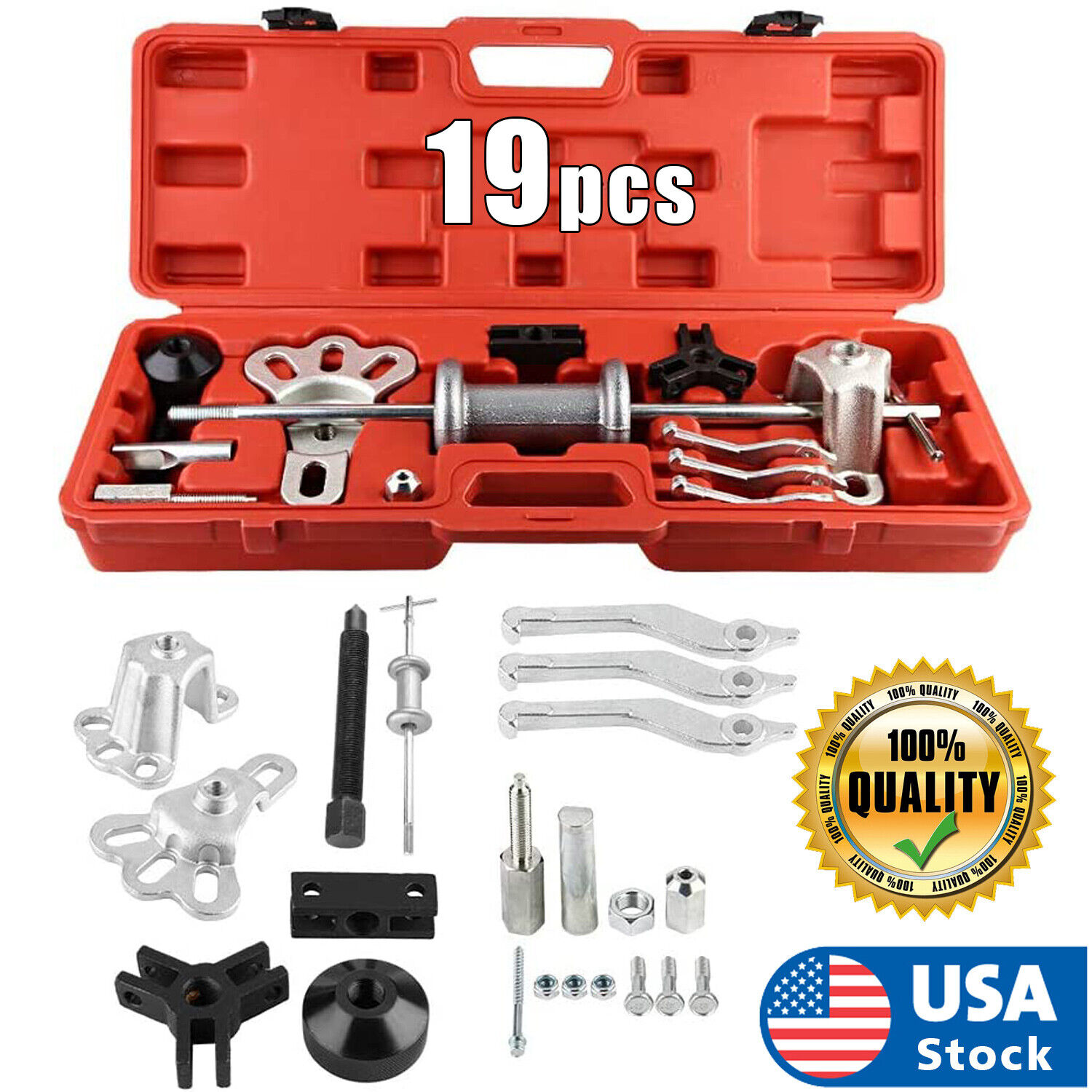 USA Slide Hammer Dent Puller Tool Kit Wrench Adapter Axle Bearing Hub Auto Set Automotive Tools & Supplies