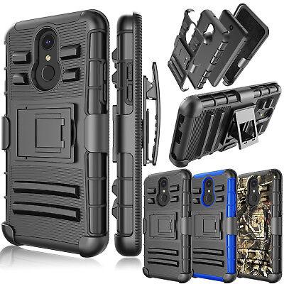 For LG Q7 / Q7 Plus / Q7 Alpha Belt Clip Holster Kickstand Full Body Armor Case