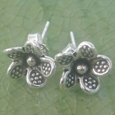 Earrings flower silver 98% Thai Karen hill tribe nice - Hill Tribe Flower