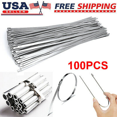 100pcs 304 Stainless Steel 12 Exhaust Wrap Coated Metal Locking Cable Zip Ties