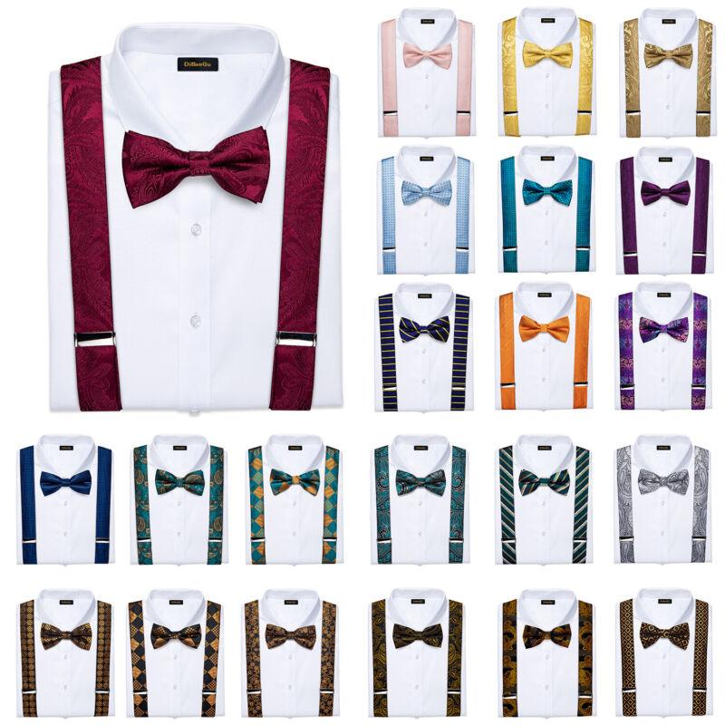 Dibangu Mens Suspenders Paisley Plaids Braces Bow Tie Necktie Hanky Cufflinks