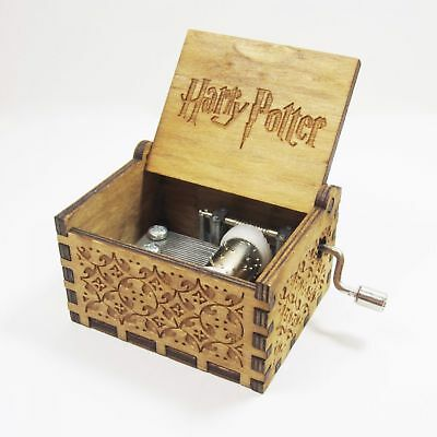 Harry Potter Music Box Engraved Wooden Hand Crank Interestin