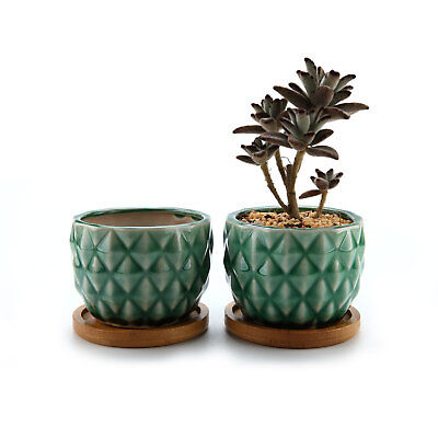 "T4U 3.25"" Green Ceramic Pineapple Succulent Cactus Planter Pot with Bamboo Tray"