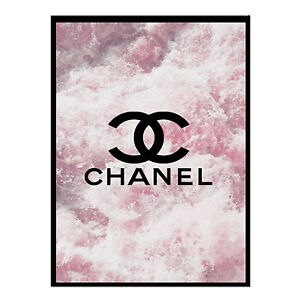 quote life poster picture print chanel Paris logo on pink ocean
