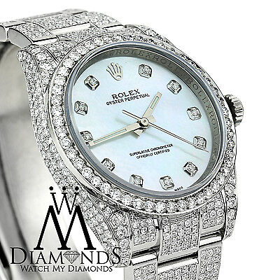 New Style Rolex Oyster Perpetual 15 carats of genuine diamonds micro pave Style