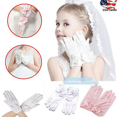 Wedding Flower Girl's Stretch Satin Dress Gloves, Toddlers Baby Girls 3-10 Years