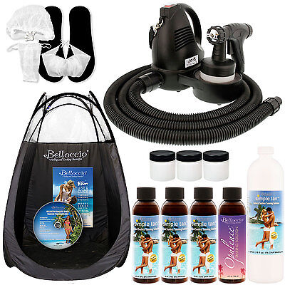 Sunless Airbrush HVLP SPRAY TANNING SYSTEM Machine Simple Tan 8% Solution TENT