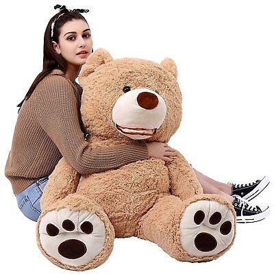 MorisMos Giant Teddy Bear with Big Footprints Plush Stuffed Animals Light Brown