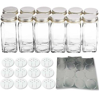 12 Square Glass Spice Bottles 4oz Spice Jars with Silver Metal Lids, Shaker T...