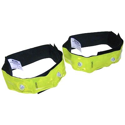 2x Reflective Bands Cycling Bike Bicycle w/ 4 LED Lights Safety Run Jogging Gear