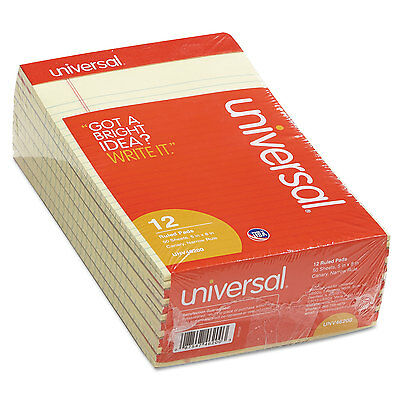Universal Perforated Edge Writing Pad Narrow Rule 5 X 8 Canary 50 Sheet Dozen