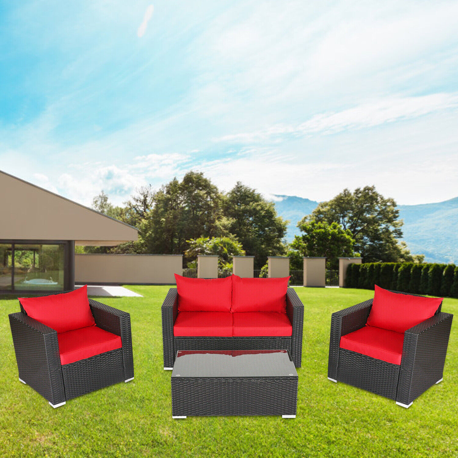 Garden Furniture - 4PC Outdoor Rattan Sofa Set Sectional Cushioned Couch Garden Patio Furniture