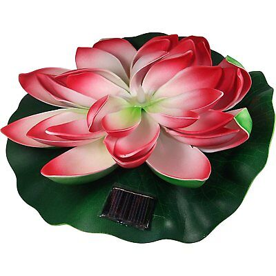 Solar Powered 10'' Floating Water Lily Pad with Light for Pond or - Lily Pad Solar Light