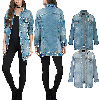 Women's Oversize Jeans Loose Distressed Long Cotton Denim Button Down Jacket  Button Down Cotton Jeans