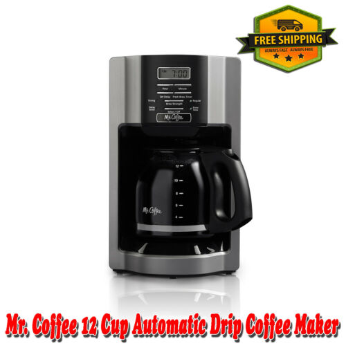 Mr. Coffee 12 Cup Automatic Drip Coffee Maker, Black/Silver, Removable
