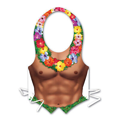 Plastic Hula Hunk CHEST Vest Beach Luau Hawaiian Pool Party DECORATION COSTUME](Hula Party Supplies)