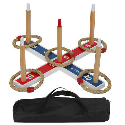 Outdoor Indoor Game Ring Toss W/ Carring Bag & 5 Rings Home Party All Ages Toys - Ring Toss Rings
