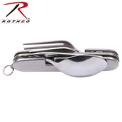 Folding Chow Set Pocket Knife Style Stainless Steel Fork Knife Spoon Can Opener