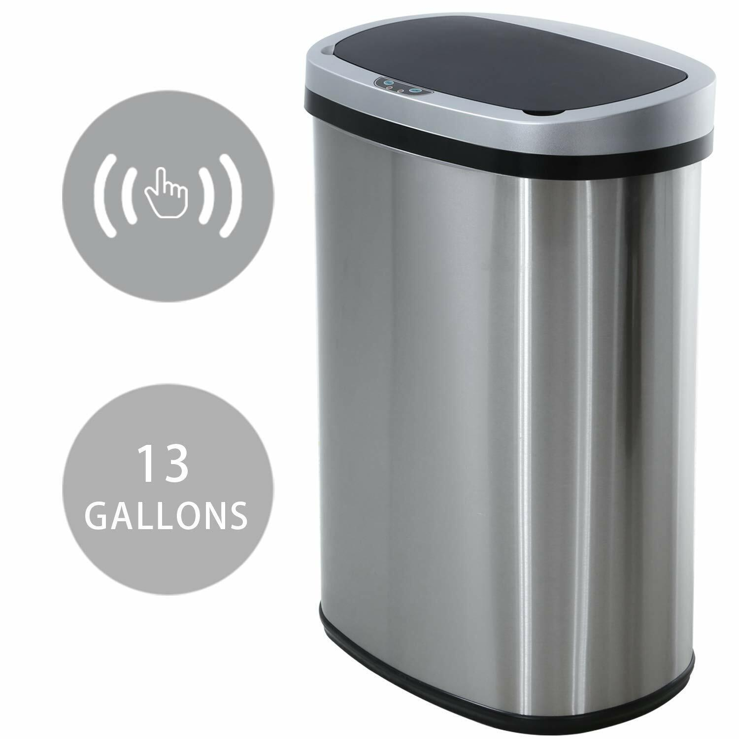 New 13-Gallon Touch Free Sensor Automatic Touchless Trash Can Kitchen Office General Household Supplies