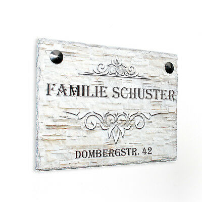 d Namensschild aus Schiefer Hausschild mit Wunschname 20x15cm (Willkommen Türschilder)