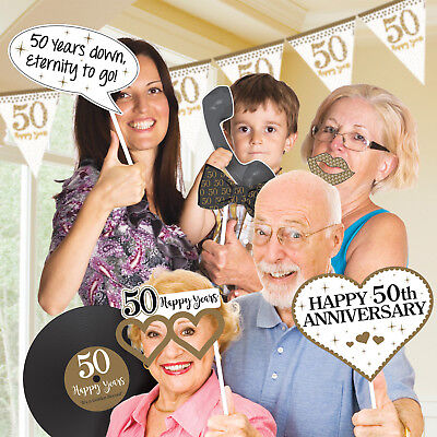 50th Golden Wedding Anniversary Party Fun Photo Booth Selfie Props 50 Years 12pk
