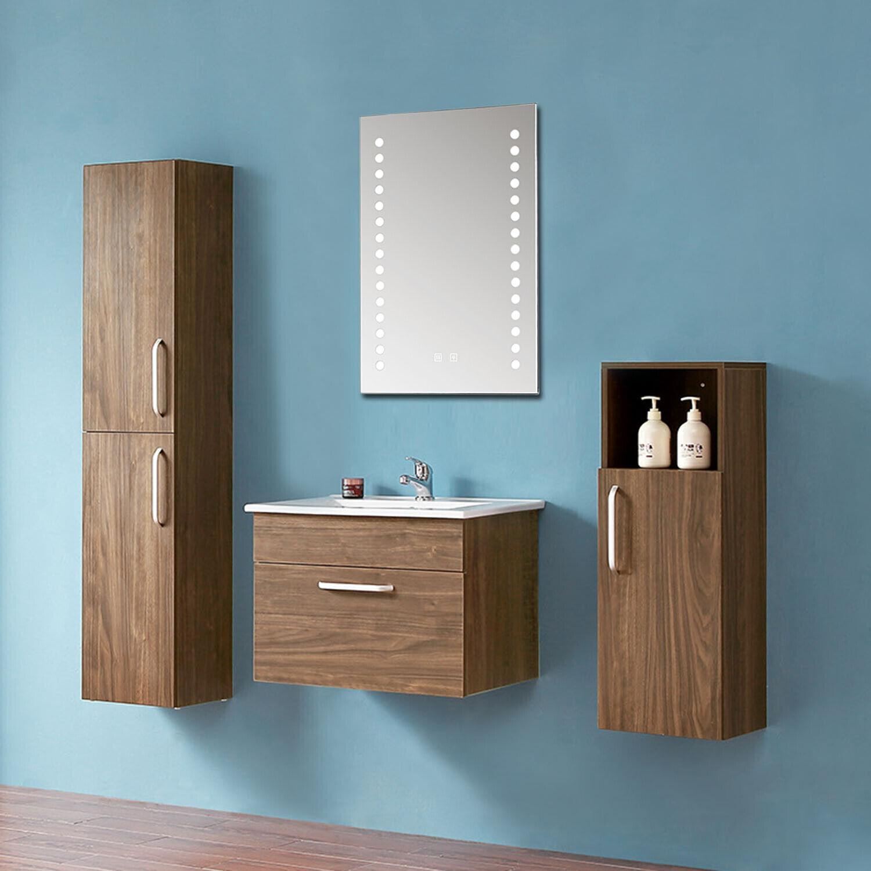 Badmöbel Set 60cm Walnus Waschbecken Badezimmermöbel mit LED Spiegel Hochschrank
