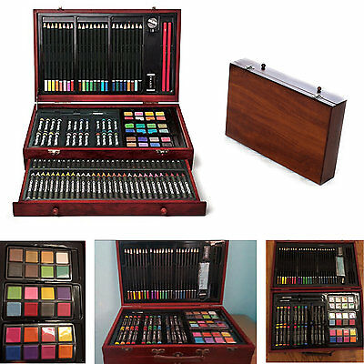 Drawing Art Set 143 Color Pencil Pastel Charcoal Sketching Eraser Sharpener Wood