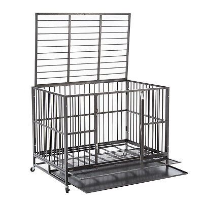 """XXL 48"""" Heavy Duty Pet Dog Cage Strong Metal Crate Kennel Pl"""