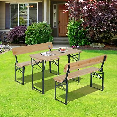 Outdoor Wooden Picnic Table Beer Bench Chair Dining Set Folding Wooden Top Patio ()