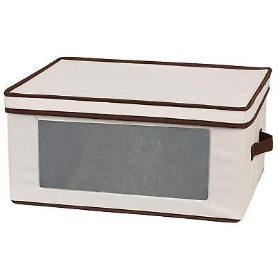 (White Wine Glass Storage Chest Crystal Stemware Keeper Canvas Box Holds 12 NEW)