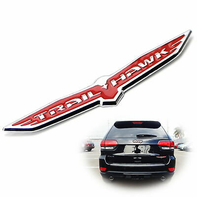 2X 3D Jeep Cherokee TrailHawk Emblem Black Stainless Steel License Plate Frame