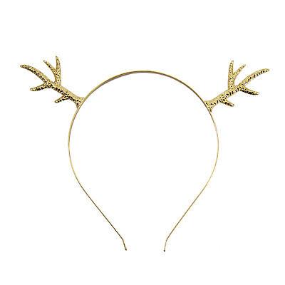 eweih Metall Haarreif Gold für Fasching Karneval Weihnachten (Weihnachten Rentier-geweih)